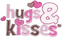Hugs and Kisses 9 - 2 Sizes! | Valentine's Day | Machine Embroidery Designs | SWAKembroidery.com Bunnycup Embroidery
