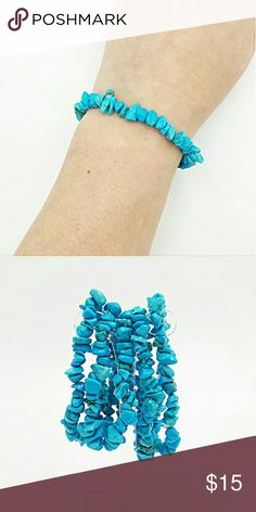 Turquoise chip stretchy bracelet 1 Turquoise chip gemstone beaded stretch bracelet  Vibrant blue turquoise chip gemstone beaded bracelet is a top pick when pairing with other bracelets to get a beautifully created bracelet stack! This bracelet is designed using beautiful blue turquoise chips created onto sturdy clear stretch cord so that it will be adjustable to fit almost every wrist size.  Please feel free to contact me with any questions! It will come in a nice gift box for gifting…