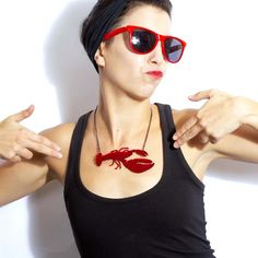Red Rock Lobster Necklace by Swank on Etsy, £18.00 linens!#joescrabshack
