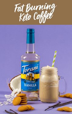 This Fat Burning Keto Coffee blends together Torani Sugar Free Vanilla Syrup with coffee, grass fed butter, coconut oil, unsweetened coconut milk and ice. Sugar Free Coffee Syrup, Sugar Free Vanilla Syrup, Homemade Iced Coffee, Vanilla Iced Coffee, Iced Mocha, Keto Coffee Recipe, Coffee Recipes, Unsweetened Coconut Milk, Coconut Oil