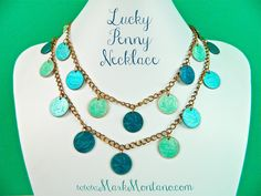 Lucky you.....Take those lucky pennies and turn them in to an enameled charm necklace with your favorite shades of nail polish.
