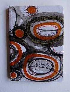 Libreta pintada a mano, acuarela, tinta, acrílico, collage, de la serie ¨del jardín¨. 12.5 x 18 cms. Ana Milena Gómez