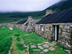 Abandoned houses in Village of Hirta, St. Kilda, Western Isles of Scotland