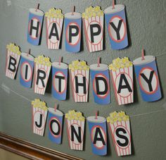 Movie Theme Birthday Banner Party Decoration 2-D by bcpaperdesigns