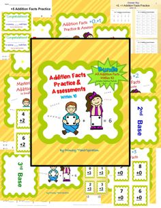 "$-Saving Bundle: Addition Facts Practice & Assessments!  Will help students with addition fact fluency, using an easy step-by-step format.  Use the flashcards for whole/small group or center practice.  Play Math Baseball to reinforce the learning.  Use worksheets for additional practice.  Differentiate by assessing with daily quizzes at each student's mastery level.  Give the final assessments to confirm mastery of each set.  It's the complete package of ""Addition Facts Practice…"