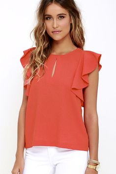 Look and feel like a million bucks when you style the Feeling Flirtatious Coral Red Top! Textured woven fabric sweeps across a bateau neckline (with front keyhole) to fluttering ruffled sleeves, and a relaxed bodice. Back keyhole has a silver top button. Dressy Tops, Blouse Styles, Blouse Designs, Cheap Womens Tops, Moda Chic, Tunic Tank Tops, Junior Outfits, Cute Shirts, Latest Fashion For Women