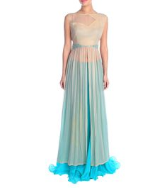 Blue Georgette Mirror Work Lehenga Set #crepe #embroidery #fusionwear #ethnicwear