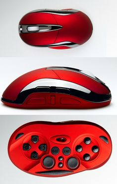 Computer mouse with a controller built into the bottom.  Absolutely beautiful idea for those big PC gamers and fans of emulators.