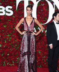 Tony Awards Joan Smalls in an Altuzarra dress and Monique Péan jewelry