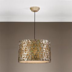 Uttermost Alita Metal Overlay Hanging Shade Pendant Silver/Champagne Leaf Finish.