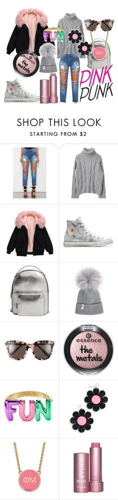 """pink winter!"" by dina-minichino on Polyvore featuring moda, Converse, MANGO, Gentle Monster, Kate Spade, Marina Fini e LogoArt"