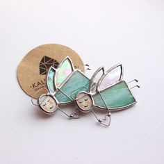 """Stained glass brooch """"Angelok"""". Angels. Stained glass ornaments."""