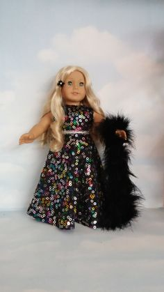 18 inch doll clothes -  Colorful Black Gown handmade to fit the American Girl Doll  - FREE SHIPPING          l by susiestitchit on Etsy