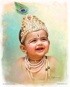 Small kid in krishna look portrait painting created by Oilpixel. Contact us for creating such an amazing digital portrait painting. Cute Kids Pics, Cute Baby Girl Pictures, Baby Girl Images, Baby Photos, Little Krishna, Cute Krishna, Bal Krishna, Krishna Art, Krishna Photos