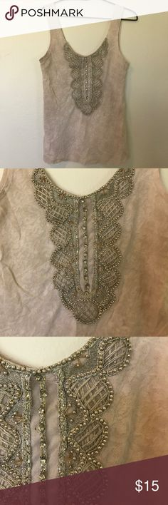 Free people Great tank in good lightly used condition. Cute beaded detail Free People Tops Tank Tops