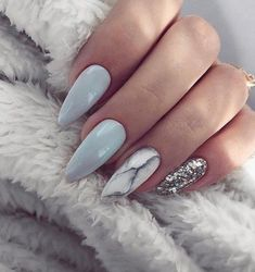 Almond Nails Blue and Grey Nails Marble Nails Silver Glitter Nails Acrylic Nails Gel Nails GlitterBomb almondnails Matte Nails, Stiletto Nails, Grey Gel Nails, Pastel Blue Nails, Grey Nail Art, Marble Nail Art, Black Marble Nails, Coffen Nails, Sky Blue Nails