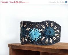 Birthday Sale - Blue Flower Bracelet Cuff - Grey Felt with Shades of Blue and Ivory via Etsy