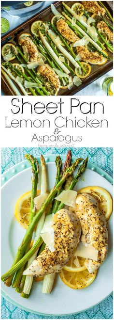 Sheet Pan Lemon Chicken and Asparagus | This easy sheet pan meal is perfect for spring or summer. Bright, fresh asparagus and chicken tenders baked on a sheet pan over lemon slices giving everything a light, fresh flavor. This Sheet Pan Lemon Chicken and Asparagus is a quick and easy weeknight dinner recipe that is great if you are looking for healthy dinner recipes. AD