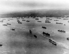 Allied convoy preparing to set out across the Atlantic.