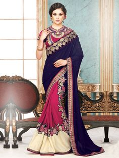 Buy Blue and Pink Georgette Saree with Resham Embroidery Work Online in USA, UK - Saree.com