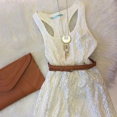 IVORY LACE DRESS Super cute ivory lace dress, thick with elastic waist. Your go to dress for wedding and summer festivities! So many ways you could wear this.  SAME DAY SHIPPING (except weekends) discounted bundles!! purse for sale as well- see other listing Maurices Dresses Midi