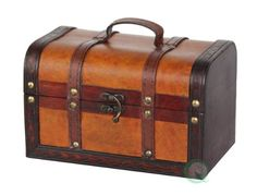 Decorative Wood Leather Treasure Box - Small Trunk Chest Quickway Imports