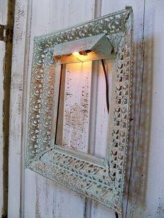 Vintage ornate painted metal frame aqua shabby by AnitaSperoDesign, $50.00