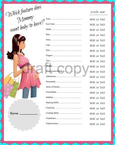 Baby Shower Game - Which feature does Mommy want baby to have | Instant Download