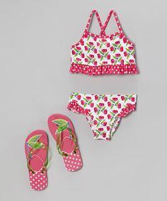Love this Pink Cherry Bikini & Flip-Flops - Toddler & Girls by Jump'N Splash on #zulily! #zulilyfinds