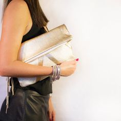 Gold Metallic Leather Clutch // Holographic Fold by gmaloudesigns