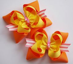 boutique set of 2 CITRUS PUNCH hair bow clips by andjane on Etsy, $9.99