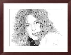 Robert Plant / Led Zeppelin - orig. Zeichnung , Drawing, Bild, Portrait