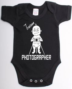 Trainee Photographer Funny Photography Camera Babygrow Suit Unique Baby Shower Gift Baby Vest Clothes-12/18 Black - White Print by Jonny Cotton, http://www.amazon.com/dp/B008M2OLV2/ref=cm_sw_r_pi_dp_Rtuqrb1APMPGA