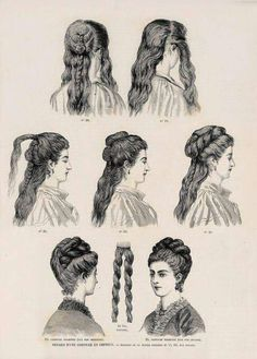 FlouncedLucia Trendfrisuren Joe, akkurater Mittelscheitel oder People from france Cut Cease to live Frisurentrends Historical Hairstyles, Edwardian Hairstyles, 1800s Hairstyles, School Hairstyles, Prom Hairstyles, 1870s Fashion, Victorian Fashion, Curly Bangs, Curly Hair Styles