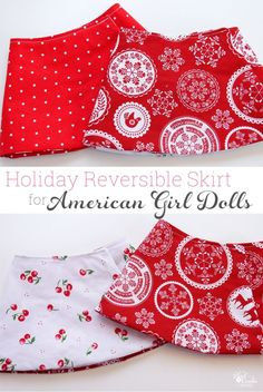 "Free doll clothes pattern to make a cute holiday reversible wrap skirt for you American Girl Doll or 18"" doll. Quick and easy pattern with tips to complete."