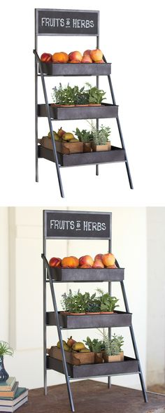 Give your happy home some extra storage space with this sleek Gardner Display Rack. Inspired by modern farmer's market displays, this chic metal showcase comes equipped with a charming chalkboard sign ...  Find the Gardner Display Rack, as seen in the How to Design an Industrial Sunroom Collection at http://dotandbo.com/collections/how-to-design-an-industrial-sunroom?utm_source=pinterest