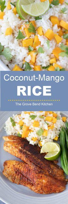 Coconut-Mango Rice | The Grove Bend Kitchen Pork Chop Side Dishes, Sides For Pork Chops, Side Dishes For Fish, Taco Side Dishes, Pork Dishes, Rice Dishes, Side Dish Recipes, Fish Recipes, Dinner Recipes