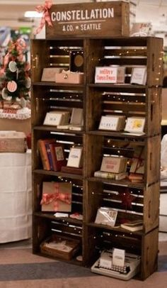 Store displays ideas make your happy selling shorewest's diy project: crate bookshelf crate bookshelf, wooden box shelves, wooden boxes, Wooden Box Shelves, Crate Bookshelf, Wooden Crates, Glass Shelves, Wooden Boxes, Craft Fair Displays, Market Displays, Boutique Displays, Retail Store Displays