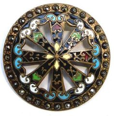 Large Antique Vintage Champleve Enamel Victorian Button Brooch Cut Steel Accents
