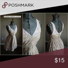 Tan floral lace dress with tulle trim This dress is so unique, tan lace + floral! 💖💖 Dresses Mini