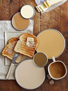 Creamy Neutral Paint Colors (top to bottom) ... Olympic Soft Cream A15-1; Sherwin-Williams Tatami Tan SW6116 A; Glidden Honey Beige GLY23; Pratt & Lambert Matté 7-21; Ace Hardware Cuddle Up 4014