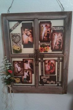 If the pane is uneven to nail to the wall, hang it from wire, ribbon, or string. Window Pane Picture Frame, Old Window Panes, Picture Frames, Diy Projects To Try, Crafts To Make, Diy Crafts, Old Barn Windows, Cute Frames, Wood Pallets