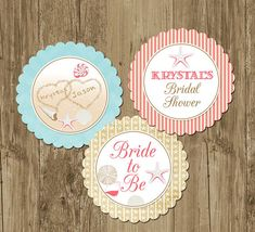 Beach Themed with shells Bridal Shower Party Rounds Cupcake Toppers  - Printable