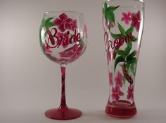 Tropical beach wedding ideas - Bride & Groom hibiscus wedding glasses. Wine glass and pilsner available.