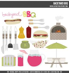 Backyard BBQ Digital Clipart Clip Art Illustrations  by MissTiina, $5.00