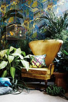 leafy greens: palm leaf decor for spring on domino.com Miami wallpaper by Cole & son
