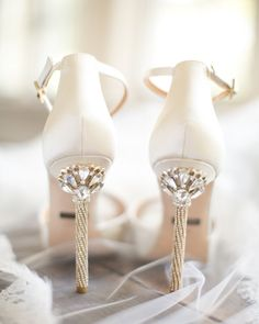 Loving these breathtaking wedding heels. Look at the #bling on these shoes…