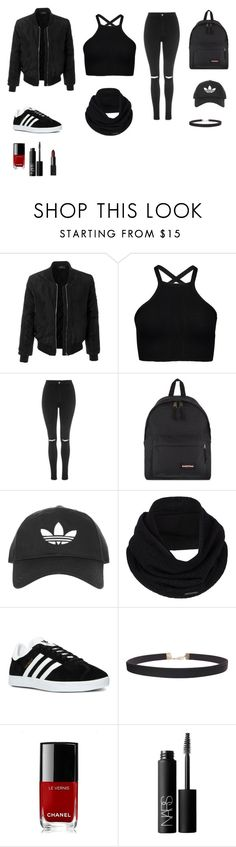 """""""look total black out"""" by doudoubcf ❤ liked on Polyvore featuring LE3NO, Topshop, Eastpak, prAna, adidas, Humble Chic, Chanel and NARS Cosmetics"""