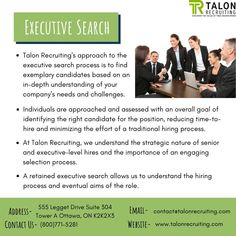 Talon Recruiting's approach to the executive search process is to find exemplary candidates based on an in-depth understanding of your company's needs and challenges. Executive Search, Hiring Process, Progress Report, Assessment, Effort, All About Time, Challenges, Positivity, Goals