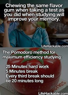 Study tips-chewing gum Middle School Hacks, Life Hacks For School, High School, School School, School Stuff, Back To School Highschool, School Lessons, School Ideas, College Hacks